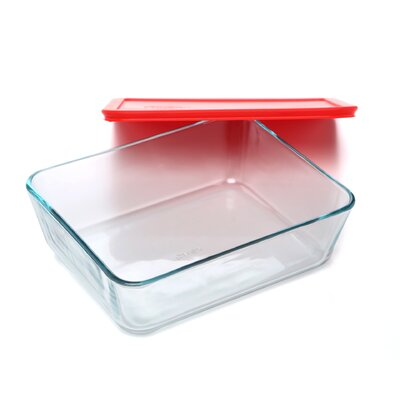 Pyrex Storage Plus 11-Cup Rectangle Storage Dish with Red Plastic Cover