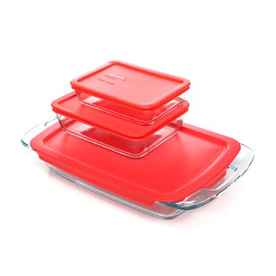 Easy Grab 6 Piece Bakeware Set with Plastic Cover
