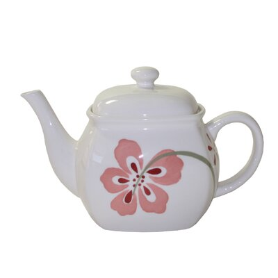 Corelle Coordinates Pretty Pink Teapot in Pink and White Glaze
