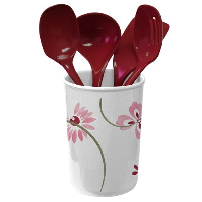 Coordinates 5 Piece Utensil Set with Pretty Pink Design