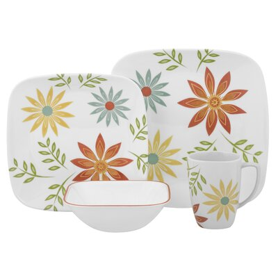 Corelle Happy Days Square 16 Piece Dinnerware Set