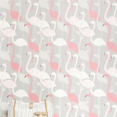 Kimberly Lewis Home Flamingo Dance Flocked Wallpaper
