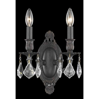 Elegant Lighting Rosalia 2 Light Wall Sconce in Dark Bronze