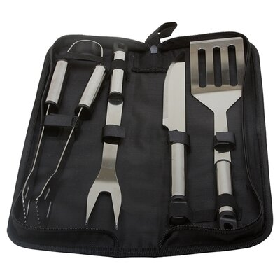 KitchenWorthy 5 Piece Stainless Steel Grilling Tool Set