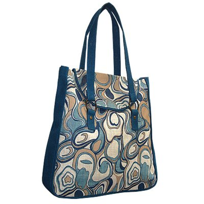 Jute Farm Natural Aquarelle Blue Tote Bag