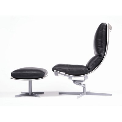 Spinnaker Leather Ergonomic Recliner and Ottoman