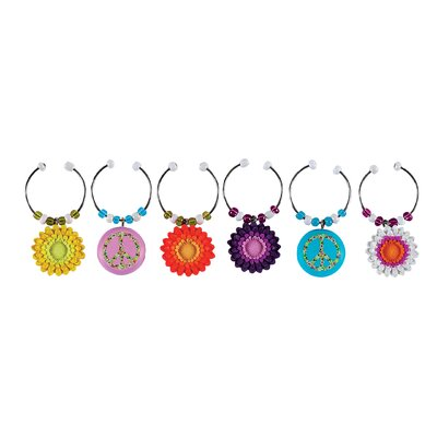 Boston Warehouse Trading Corp Peaceful Garden Wine Charm (Set of 6)