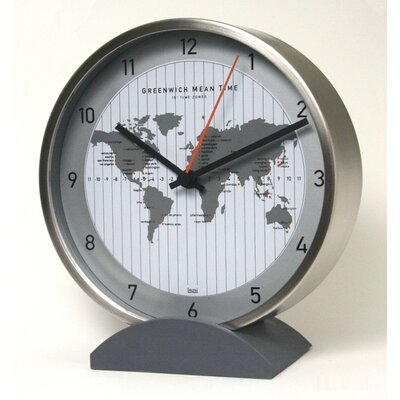 Bai Design Convertible Global Wall Clock with Stand in Silver