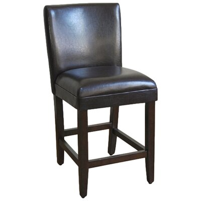 <strong>Kinfine</strong> Faux Leather Seat High Barstool in Brown
