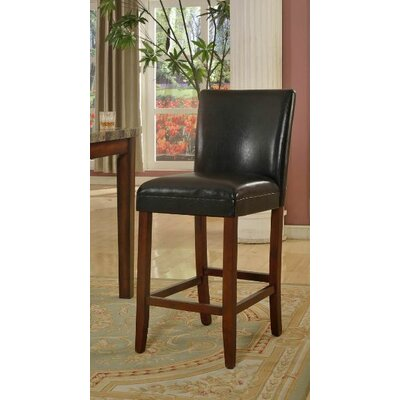 Faux Leather Barstool in Black