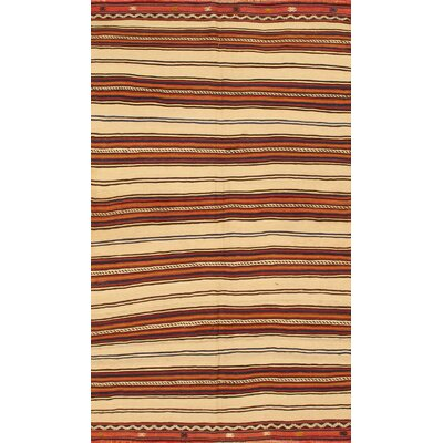 Apadana Inc. Kilim Beige / Brown Striped Rug
