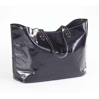 Clava Leather Wellie Market Tote Bag in Black