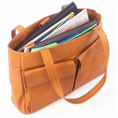 Clava Leather Two Pocket Tote in Tan