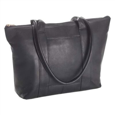 Vachetta Zip Top Shopper Tote in Black