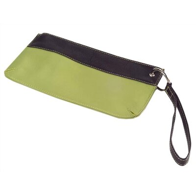 Clava Leather Colored Vachetta Wallet-on-a-Wrist Wristlet  in Green