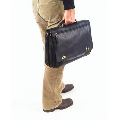 Clava Leather Vachetta Turn Lock Briefcase in Café