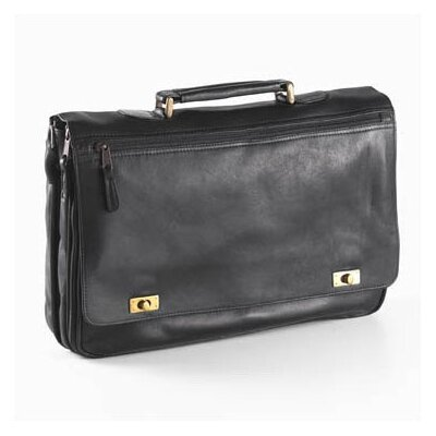 Clava Leather Vachetta Turn Lock Briefcase in Black