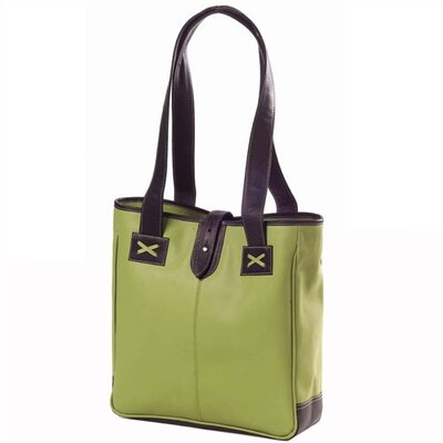 Clava Leather Colored Vachetta Small Open Tab Tote in Green/Café