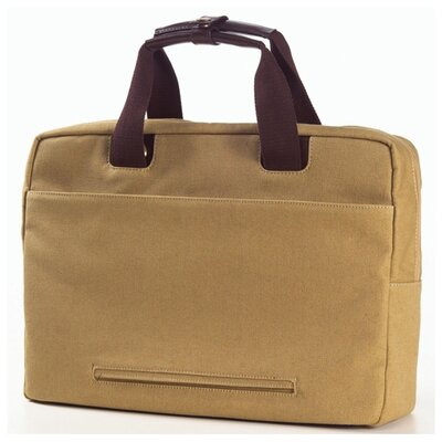 Clava Leather Canvas and Leather Briefcase in Khaki