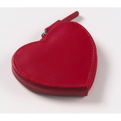 Clava Leather Heart Coin Purse in Red