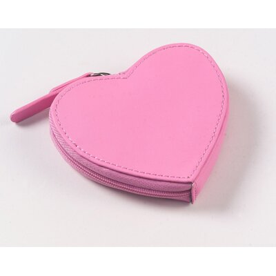 Clava Leather Heart Coin Purse in Pink