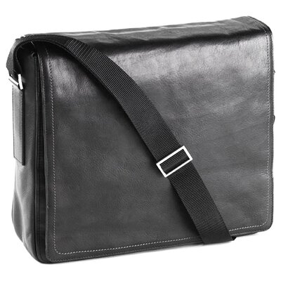 Clava Leather Tuscan Square Messenger Bag in Black