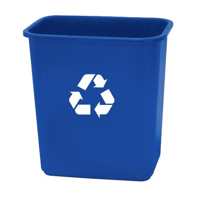 Rough &amp; Rugged 28 Quart Blue Recycling Wastebasket