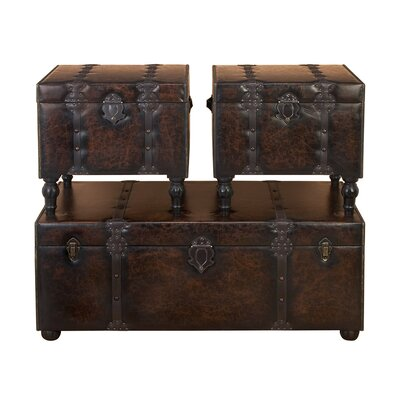 <strong>UMA Enterprises</strong> Urban Trends 3 Piece Wood Leather Trunk with Metallic Accents