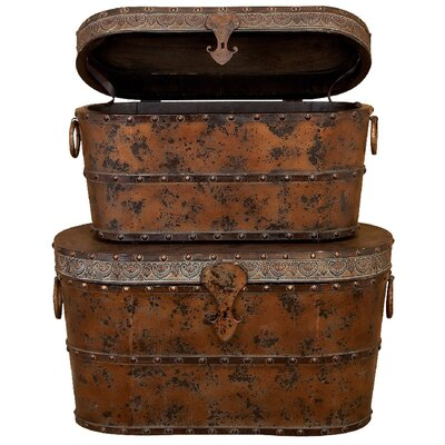 <strong>UMA Enterprises</strong> Toscana 2 Piece Wood Metal Trunk