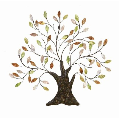 UMA Enterprises Cosmopolitian Metal Tree/Shell Leaves Wall Décor