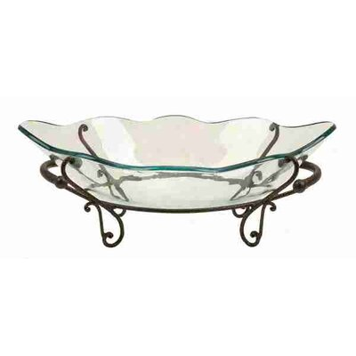 Urban Trends Antique Glass Bowl Metal Stand
