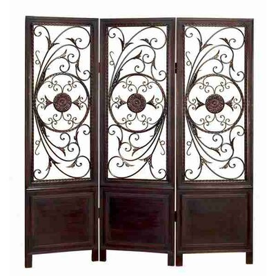 Toscana Wood and Metal 3-Panel Decorative Screen