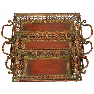 <strong>UMA Enterprises</strong> 3 Piece Toscana Chic Metal Serving Tray Set