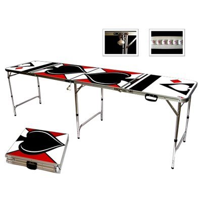 Red Cup Pong Spades Game Room Beer Pong Table in Standard Aluminum