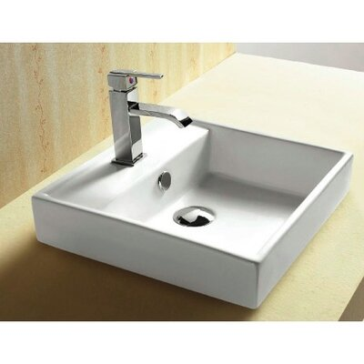 Ceramica Square Single Hole Self Rimming Bathroom Sink with Faucet - Caracalla CA4148A
