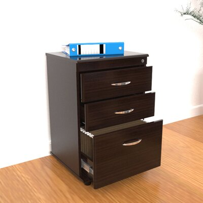 Double Accessory Drawer and Single File Drawer Mobile File in Espresso Wenge
