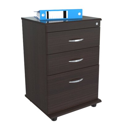 Inval Double Accessory Drawer and Single File Drawer Mobile File in Espresso Wenge