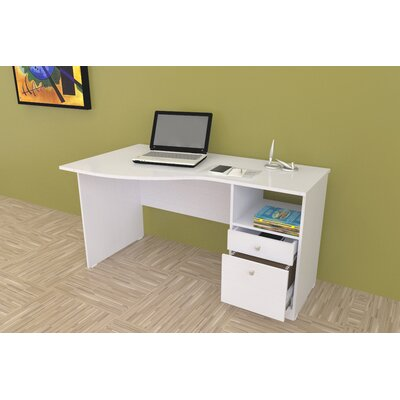 Inval Laura Curved Computer Desk with Shelf