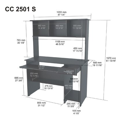 Inval Computer Desk with Hutch