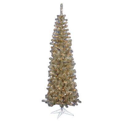 Vickerman Champagne Pencil 4.5' Artificial Christmas Tree with 150 Clear Lights