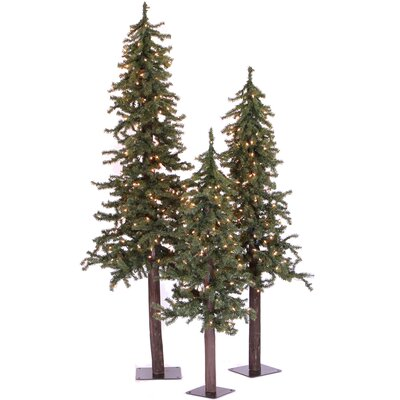 Vickerman Natural Alpine Green Artificial Christmas Tree with 450 Clear Lights with Stand