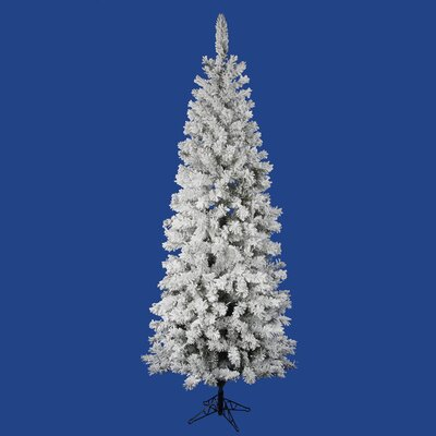 Vickerman Flocked Pacific Pine 6.5' White Artificial Pencil Christmas Tree with Stand