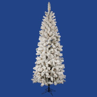 Flocked Pacific Pine 6.5' White Artificial Pencil Christmas Tree with 225 LED Lights with Stand ...