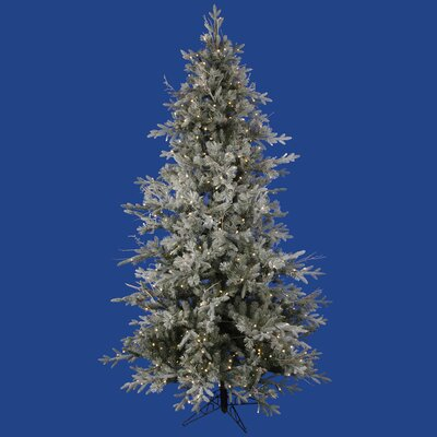 Vickerman Frosted Wistler Fir 7.5' Green Artificial Christmas Tree with 495 LED Lights with ...