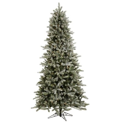 Vickerman Frosted Frasier Fir 7.5' Green Artificial Christmas Tree with 450 LED Lights with ...