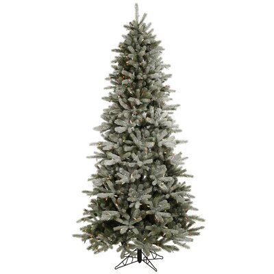 Vickerman Co. Frosted Frasier Fir 8.5' Green Artificial Christmas Tree with 550 Multicolored LED Lights with Stand