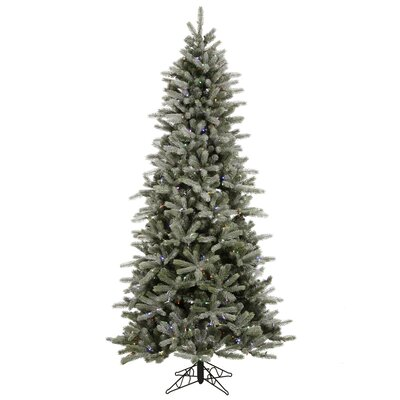 Vickerman Frosted Frasier Fir 7.5' Green Artificial Christmas Tree with 440 Multicolored LED ...