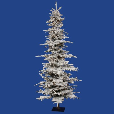 Vickerman Co. Flocked Georian Fir 7.5' Green Artificial Christmas Tree with 550 Clear Lights with Stand