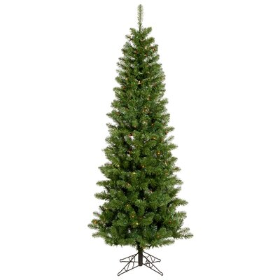 Vickerman Salem Pencil Pine 7.5' Green Artificial Christmas Tree with 275 Multicolored LED ...