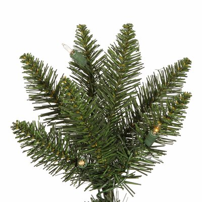 "Vickerman Co. Durham Pole Pine 6' 6"" Green Artificial Christmas Tree with 200 Clear Lights with Stand"